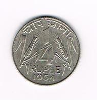 =&  INDIA  1/4  RUPEE  1954 - Inde