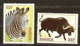 Rwanda 1984 OCB 1224-1225 Yvertn° 1163-1164 *** MNH Cote 10,50 Euro Faune Buffel Bufflle Zèbre Zebra - 1980-89: Nuevos