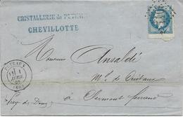 LETTRE 1869 DE PUTEAUX AVEC TIMBRE A 20 CT EMPIRE LAURE AVEC VARIETE DE PIQUAGE - Poststempel (Briefe)