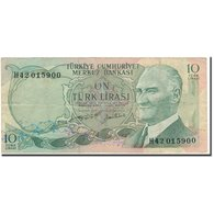 Billet, Turquie, 10 Lira, 1970, KM:186, TB - Turquie