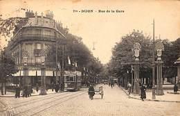 Dijon - Rue De La Gare (animée, Tram Tramway, Timbre Taxe 1924) - Dijon