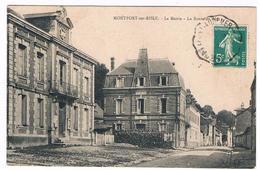 CPA : MONTFORT SUR RISLE - La Mairie Et La Route De Glos - Other Municipalities