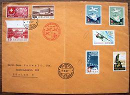 Schweiz Suisse 1940: Grossbrief NATIONALSPENDE & ROTES KREUZ Mit O FELDPOST 9.V.40 MIT 5 Diversen Flieger-Soldatenmarken - Posta Militare