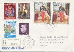 Monaco Registered Cover Sent To Switzerland 22-11-1979 Very Good Franked With Topic Stamps - Monaco