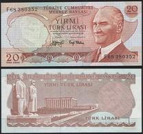 Turkey P 187 - 20 Lira 1974 - AUNC - Turchia
