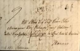1851 DA LAPEDONIA  TASSATA  PER MONACO - Italy