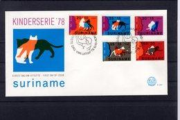 628765276 SURINAME 1978 FDC SCOTT B251 B252 B253 B254 B255 CHILD S HEAD AND WHITE CAT - Surinam