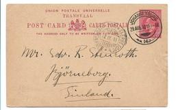 (P79) - TRANSVAAL - POST CARD JOHANNESBURG => FINLAND 1910 - Transvaal (1870-1909)