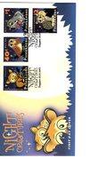 628773217 SINGAPORE 2003 FDC SCOTT 1050 1051 1052 1053 NOCTURAL ANIMALS TARSIER BARN OWL BARBIRUSA CLOUDED LEOPARD - Singapour (1959-...)