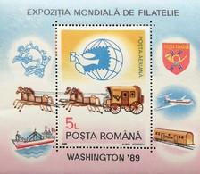 "Romania  1989 World Stamp Expo  ""89 Washington ,DC.S/S - 1948-.... Republics"