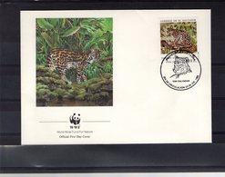 628789780 EL SALVADOR 1988  FDC SCOTT 1194 W.W.F. CATS FELINES - Salvador