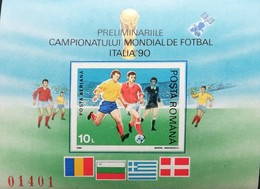 Romania   1990 World Cup Soccer Preliminaries, Italy Imperf. S/S - 1948-.... Republics