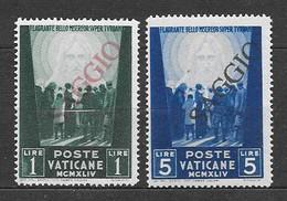 """Vaticano 1945 Opere Di Carità Di Pio XII. Pro Prigionieri. Valori 1 Lire E 5 Lire Nuovi Con Soprastampa """"SAGGIO"""" - Vaticano"""