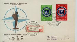 Belgio, Belgique FDC 1959 - NATO - OTAN - VIAGGIATA RACCOMANDATA  GENOVA - NATO