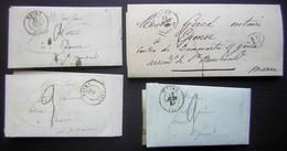 Reims, Lot De 4 Lettres Portant Toutes Une Cursive à L' Arrière (Givry En Argonne), Pour Epense - Postmark Collection (Covers)