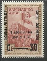 SAN MARINO 1942 RIMINI GIORNATA FILATELICA PHILATELIC DAY  MNH - Saint-Marin