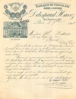 DOCUMENT COMMERCIAL  DE 1892 DELESPAUL HAZVEZ FABRIQUE DE CHOCOLATS A LILLE - 1800 – 1899