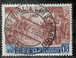 SAN MARINO 1952 FIERA DI TRIESTE FAIR LIRE 15 USATO USED OBLITERE' - Gebraucht