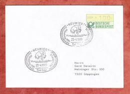 Brief, EF Automatenmarke, SoSt Mammut Museum Des Eiszeitalters Neuwied, Nach Goeppingen 1989 (56754) - BRD