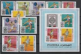 A16239)Olympia 68: Fujeira 292 - 301 B** + Bl E 9 B** - Sommer 1968: Mexico