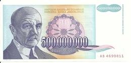 YOUGOSLAVIE 500 MILLION  DINARA 1993 UNC P 134 - Jugoslawien