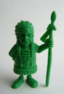 FIGURINE MONOCHROME LUCKY LUKE MORRIS - Publicitaire LA ROCHE AUX FEES CHEF INDIEN Vert - Figurines