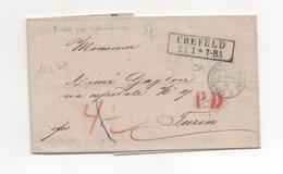 LETTRE 1859 CREFELD Rhénanie-du-Nord-Westphalie. - Allemagne