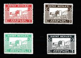 (H63-66) Postage Due Stamps Of The Hatay State Set MH* - 1934-39 Sandjak Alexandrette & Hatay