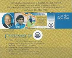 Soccer Football Liberia Bl 501  2004 MNH ** Maradona Centenary Of FIFA - Unused Stamps