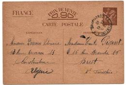 Algérie Entier Iris Constantine 23/11/1940 Cover Carta Beleg Ganzache Lettre Stationary - Algeria (1924-1962)