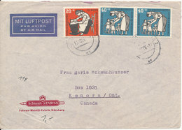 Germany Air Mail Cover Sent To Canada 13-10-1956 Very Good Franked - [7] Federal Republic