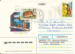 Kazakhstan Cover Sent Air Mail To Canada 1993 Topic Stamps - Kazakhstan