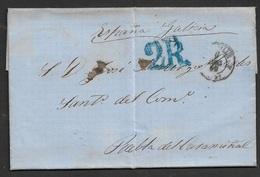 1859 LAC Marseille A Puebla De Caramiñal, Espagne, Galicia - Postmark Collection (Covers)