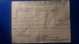 COUPON SPECIAL DE TRANSPORT MARINE NATIONALE - Documenti