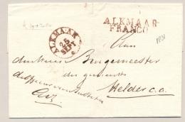 Nederland - 1831 - ALKMAAR / FRANCO En Rondstempel Alkmaar Op Omslag Naar Den Helder - Niederlande