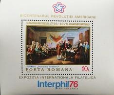Romania  1976 American Bicentennial S/S - 1948-.... Republics