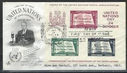 UN-New York.  Scott # 38 FDC S/sheet. UN. 10th. Anniversary Hard To Find 1955 - New York -  VN Hauptquartier