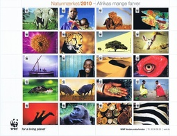 Denmark WWF 2010.  Sheet  With 20 Labels; Africa's Many Colors - Not Folded, MNH (**) - W.W.F.