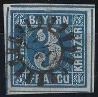 Allemagne Bavière N°2  3 Kreuzer Bleu Oblitéré Dateur Cerclé N°249...LUXE Signé  Bolaffi - Bavière