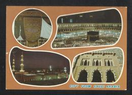 Saudi Arabia 4 Scene Picture Postcard Holy Mosque Ka'aba Mecca & Medina Islamic View Card Used 1976 - Saudi Arabia