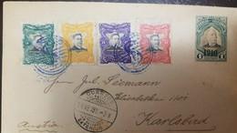 O) 1911 EL SALVADOR, FERNANDO FIGUEROA SCOTT A67 -SET - PEDRO JOSE ESCALON A65 OVERPRINTED, TO KARLSBAD, XF - El Salvador