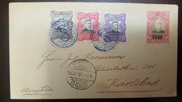 O) 1911 EL SALVADOR, FERNANDO FIGUEROA SCOTT A67  - PEDRO JOSE ESCALON A65 OVERPRINTED, TO KARLSBAD, XF - El Salvador