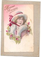 CPA COLORISEE FETE - BONNE ANNEE - Dessin D'une Belle Femme   - SAL**- - New Year