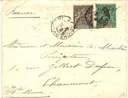 1902- Enveloppe Affr. Groupe 5 Et 10 C  Oblit. PONDICHERY / INDE - India (1892-1954)