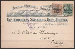 """CP Entête """"Scieries De Grez-Doiceau"""" Affr. N°OC2+OC11 Càd GREZ-DOICEAU /6 VII 1916 Pour FALISOLLE - Cachet Censure Milit - Oorlog 14-18"""