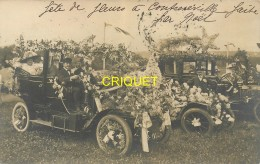 88 Contrexéville, Carte Photo De 2 Tacots Fleuris Pour La Fête Des Fleurs, Affranchie 1911, Beau Document - France