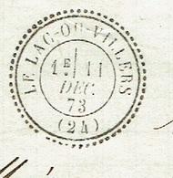 DOUBS 25 LE LAC DU VILLERS LAC TAD 24 Du 11/12/1873 GC 4499 Sur N° 60 SUP - Marcophilie (Lettres)