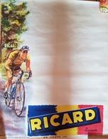 Rare Affiche Ricard De Bar Pour Résultat Tour De France  Années 50-60 - Afiches