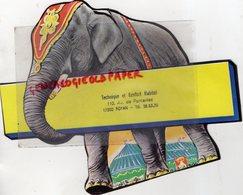 17- ROYAN PONTAILLAC- CARTON PUBLICITAIRE ELEPHANT TECHNIQUE E CONFORT HABITAT-110 AVENUE PONTAILLAC-15 AOUT 1983 - Métiers