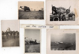 5 PHOTOS PHILIPPEVILLE (Algérie) 1947 -  Régiment De PARACHUTISTES - AVION à Hélices - Guerre, Militaire